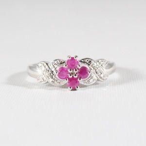 QVC TECHNIBOND Sterling Ruby & Diamond Ring 10